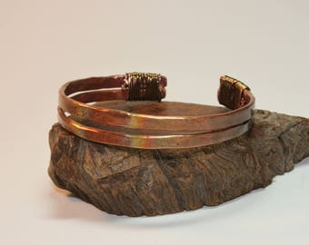 Copper Cuff / Copper Bracelet / Double Band / Bronze Wire Wrap / 553
