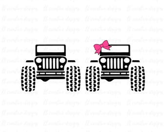 Jeep SVG, Jeep Girl SVG, Jeep Bow Svg, SVG Files, Cricut Cut Files, Silhouette Cut Files