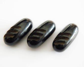 Stubby Black Bakelite  Buttons