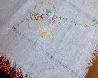 DAISY & FLOWER BASKET Embroidered Tablecloth Dainty Pastel Colors Cream Textured Linen, Fringe Edge, Handmade 1930 Vintage, 38 x 39 Topper