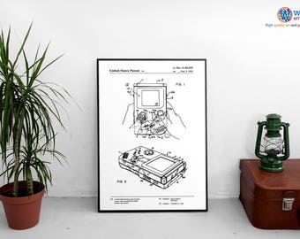 Nintendo Gameboy Patent Poster / Wall Art / Handheld Retro Console Gaming #5184830