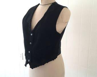 Vintage Katch Me Suede Biker Chick Western Black Lace Vest Sz S