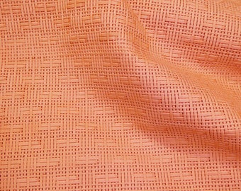 """Leather 12""""x12"""" Panama SALMON Basket WEAVE Embossed Cowhide 2-2.5 oz/ 0.8-1 mm PeggySueAlso™  E8000-14 Full hides available"""