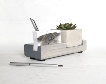 Wood Pen and Business Card Holder, Desk Accessories, Desk Organizer, Office Decor, Minimalist Office, Succulent Decor, Desk Caddy