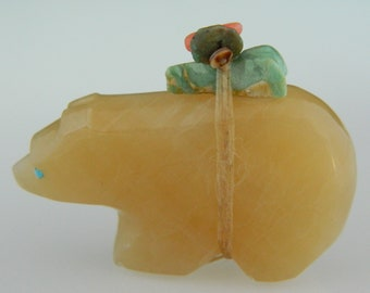 Zuni Honey Onyx Turquoise Coral Bear Fetish - Emery Eriacho