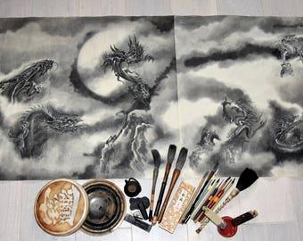 Nine Dragons, Large Original Painting, Japanese Dragon Artwork, Sumi-e Art, Watercolor Poster, Big Art