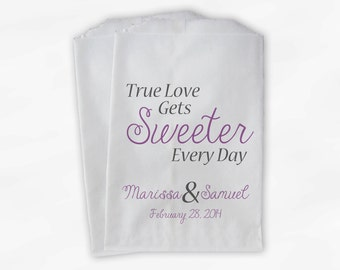True Love Gets Sweeter Every Day Wedding Candy Buffet Treat Bags - Personalized Favor Bags in Lilac and Charcoal - Custom Paper Bags (0126)