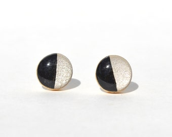 Black and white stud earrings Modern geometric earrings white studs black studs Wood studs minimalist studs Eco friendly jewelry.