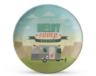 """Set of 4 Personalized Airstream Plates, Personalized Melamine RV 10"""" Plate Set, Camping Plates, Camping Decor, Airstream Decor"""