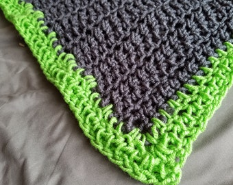 Charcoal Gray & Green Crocheted Afghan • Baby Blanket • Toddler Blanket • Lap Blanket • Couch Throw • Stroller • Handmade • Spring