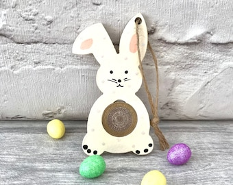 Bunny gift tag. Wooden bunny gift. Money gift holder. Coin gift tag. Birthday gift. Baby gift. Childs gift.