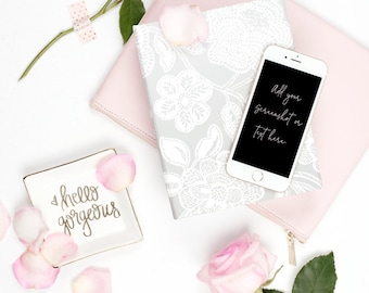 Portrait Styled Stock Photography | iPhone Mockup | Roses with Pink, White & Grey Desk Accessories  | Styled Photography | Digital Image