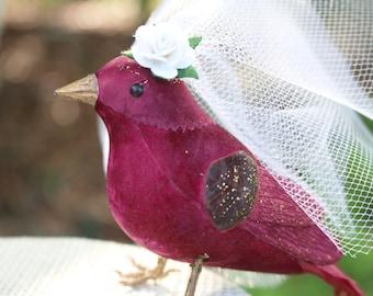 Bird Wedding Cake Topper in Cranberry Red: Bride & Groom Love Bird Cake Topper