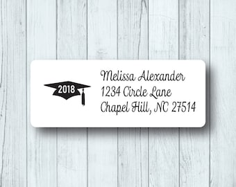 Custom Graduation Cap Return Address Labels - Personalized Class of 2018 Open House Mailing Labels - Matte White or Clear Gloss