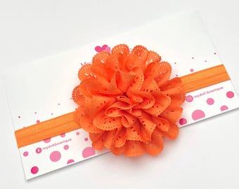 Headband, orange flower, hair accessories, flowers,elastic headband