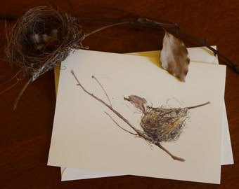 Greeting card  - small nest on twigs