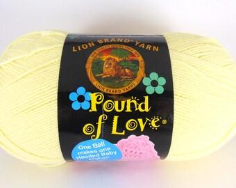 Pastel Yellow - Lion Brand Pound of Love acrylic baby yarn -  3028