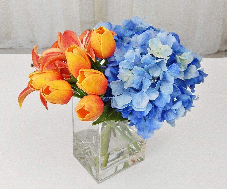 Blue orange silk tulips lilies hydrangea fauxacrylic water gallery photo gallery photo gallery photo mightylinksfo
