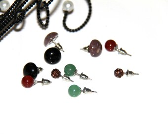 E lot 5 pairs supports studs earrings semi precious stones