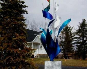 Rainbow Art Indoor Or Outdoor Large Metal Sculpture Decor, Design by NY Artist Alex Kovacs - AK200