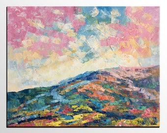 Oil Painting Lanscape, Original Canvas Art, Abstract Mountain Art, Canvas Art Painting, Bedroom Wall Art, Lot's of Texture, Art on Canvas