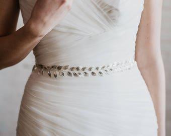 Silver Leaf Bridal Sash | Silver Wedding Dress Belt | Leaf Bridal Belt | Silver Leaf Belt | Silver Lily Sash