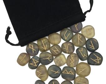 Fluorite Elder Futhark Rune Set Hand Carved Gemstone Runic