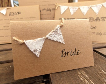 Rustic Wedding Place Card / Escort Cards - Lace Bunting - Vintage Rustic lace mini Bunting on recycled Kraft card