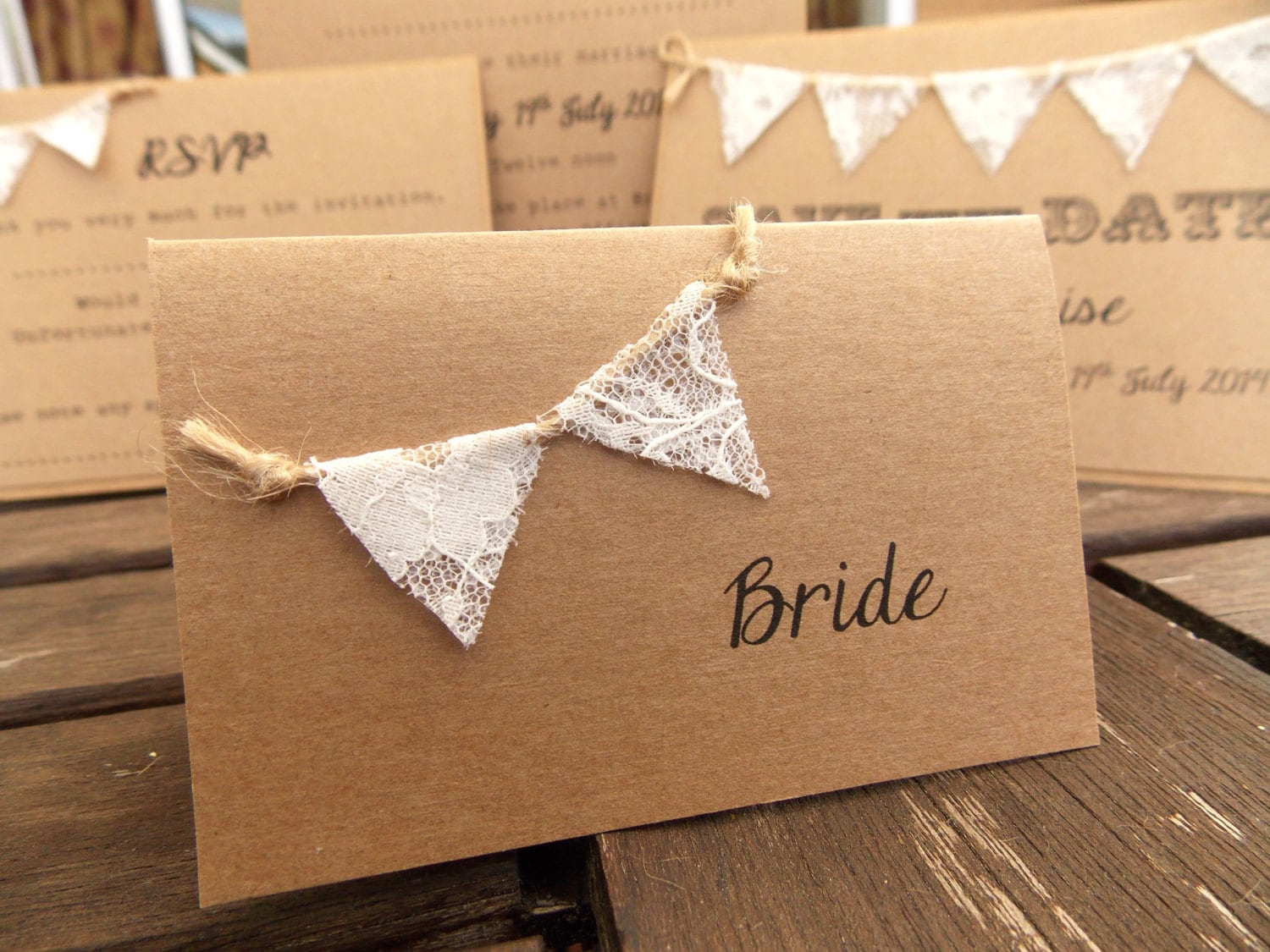 brown card for wedding invites%0A Rustic Wedding Place Card Escort Cards Lace Bunting