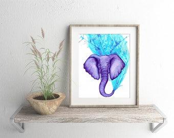 Purple Elephant Watercolour Giclee Fine Art Print