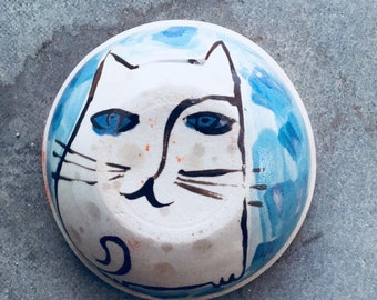 Funny Cat small bowl. Dessert, granola and ice cream bowl.
