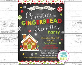 Gingerbread Decorating Party Invitation, Cookie Decorating Invitation, Gingerbread Invitation, Gingerbread House, Printable File