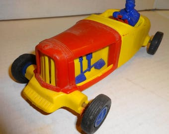 "1950s Hot Rod Friction Plastic Car 8"" long. Made by Nosco Plastic"