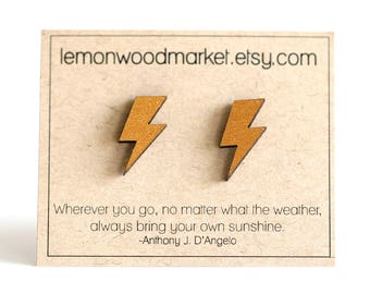 lightning bolt earrings - alder laser cut wood earrings - harry potter earrings