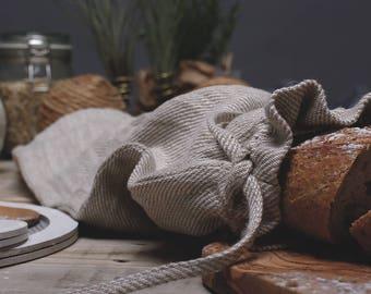 Linen French Baguette Bag / Bread Roll Bag / Handmade Eco-friendly Bag / Organic Food Storage / Artisan Baked Bread Bag / Natural Large Bag