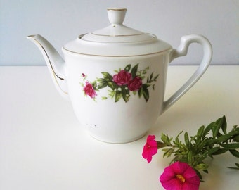Classic White Chinese Teapot  with Pink Rose Floral Decor and Gold Accent - Personal Teapot  - Bone China
