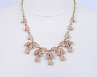 Dusty Pink Necklace Powder Pink Floral Statement Necklace