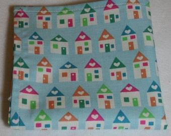 Large Cloth Dinner Napkins - Set of 4 ~ Whimsical Multicolored Pastel Blue Houses Cloth Napkins - Eco-Friendly Napkins (ns16024) *