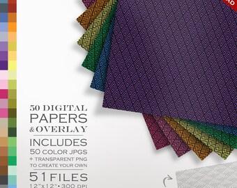 80% OFF SALE Art Deco Digital Scrapbook Paper Pack - 50 Color & Art Deco Diamond DIY Overlay - Digital Scrapbook Paper Digital Paper Pack