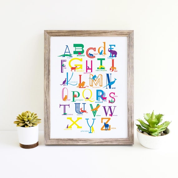ABC Poster with Colorful Animal Silhouettes, Alphabet Poster Instant Download ABC Poster, Children's Room Art Instant Download, Home Decor