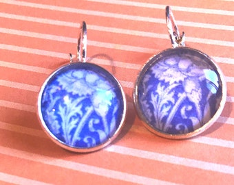 Cornflower Blue Floral cabochon earrings- 16mm