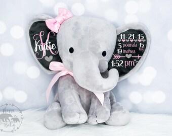 Baby Girls Birth Stat Elephant,  Keepsake Elephant, Birth Announcement Elephant, Elephant Plush, Newborn Gift, Personalized Elephant