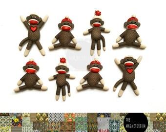 Sock Monkey Fridge Magnet Set