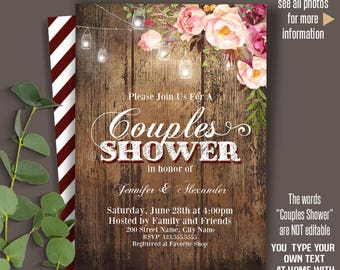 Printable couples shower invitation, Wedding rustic templates, Instant Download Self Editable PDF A2001