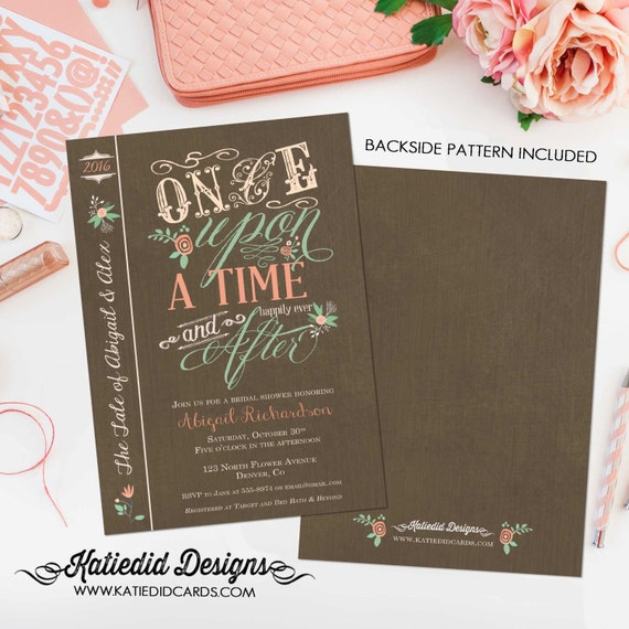 Couples Bridal Invitation happily ever after bridal shower kraft paper rustic chic Rehearsal Dinner women only shower 1379 Katiedid Designs
