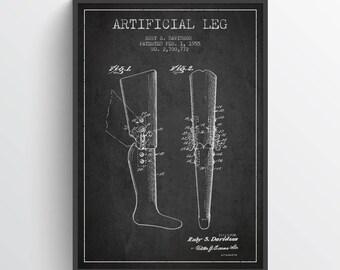 1955 Artificial Leg Patent Print, Doctors Office Decor, Doctors Office Print, Wall Art, Home Decor, Gift Idea, ME05P