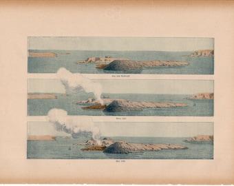 1900 VOLCANO crater eruption original antique lithograph print - volcanic ash