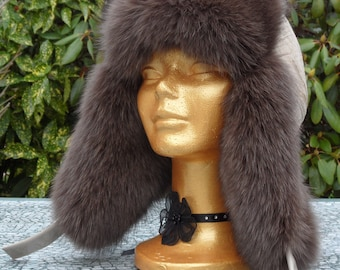 Chapka in Silver Fox Fur and skin - handmade - unique design - made in France