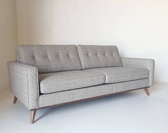 Mid Century Modern Danish Pillowback Sofa - Knoll style