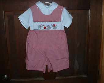 Red/White Check Hand Smocked Boy's Shortall--Elephants playing Football--3T